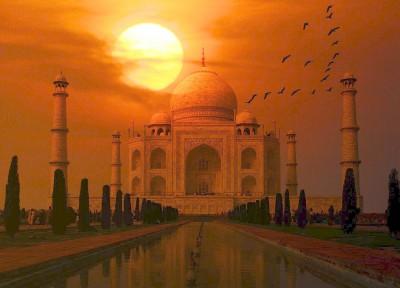 夕陽 インド風景